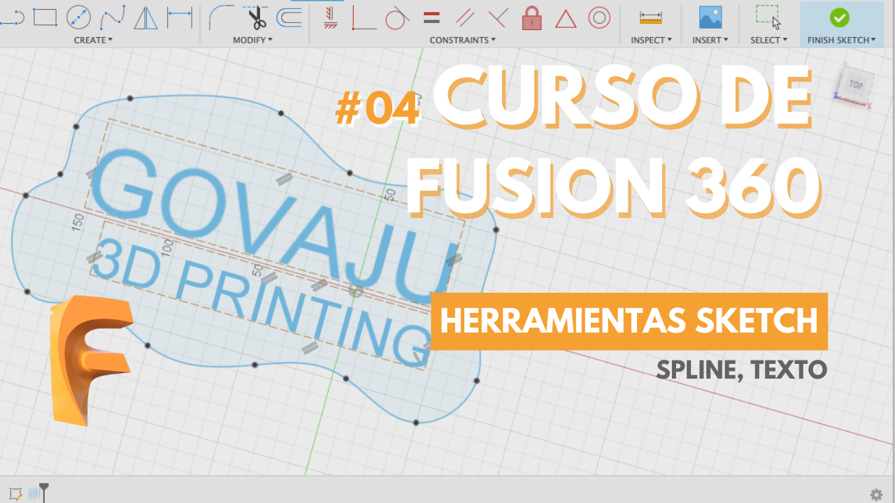 curso para principiantes fusion 360 - sketch texto spline-GOVAJU 3D